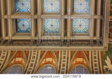 Washington D.C., USA, october 2016: decorated ceiling inside the great hall of the library of congress in Washington D.C., USA