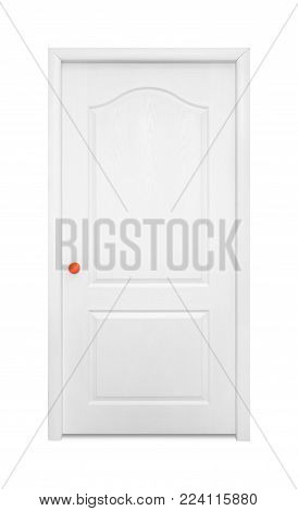 Furniture - White inside door in the orange handle isolated on a white background.
