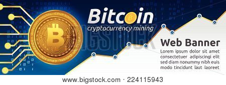 Bitcoin cryptocurrency concept banner background. Blockchain technology for cryptocurrency. Letter B coins vector illustration