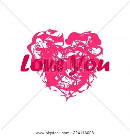 Grunge splash heart. Stock vector illustration of love symbol, Valentine's Day signs. Unique heart shape texture template for your design.