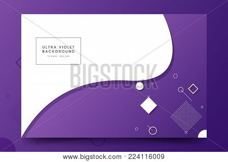 Minimalistic horizontal background with purple wave and geometric figures. Trendy ultraviolet poster with abstract geometric design. Vector Template for banner, web page, poster, flyer, magazine page.