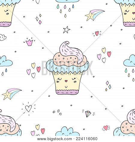 Cute hand drawn seamless pattern with cupcake pattern. vector illustration