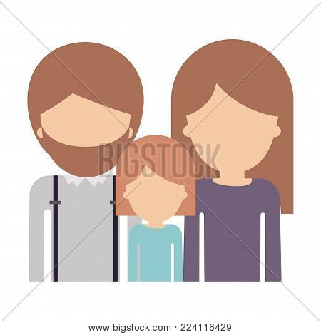 half body faceless people with man with beard and girl and woman with long straight hair in colorful silhouette without contour vector illustration