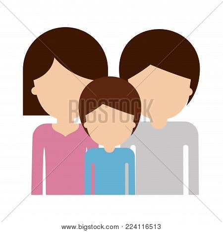 half body faceless people and woman mushroom hairstyle and man and boy with short hair in colorful silhouette without contour vector illustration