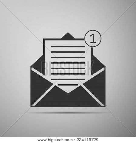 Received message concept. New, email incoming message, sms. Mail delivery service. Envelope flat icon on grey background. Vector Illustration