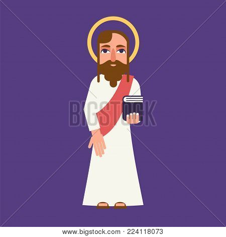 Jesus christ cartoon character. Stock vector illustration of a religious personality in flat style isolated on a violet background.