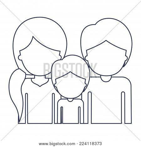 half body faceless people with woman with pigtail hairstyle and man and boy both with short hair in blue contour vector illustration