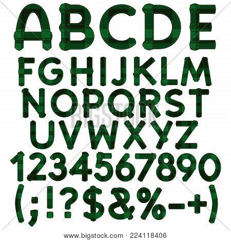 Alphabet, letters, numbers and signs from green cloth tartan. Isolated vector objects on white background.