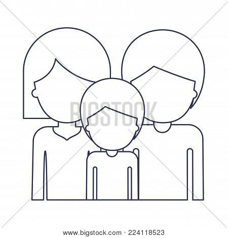 half body faceless people and woman mushroom hairstyle and man and boy with short hair in blue contour vector illustration