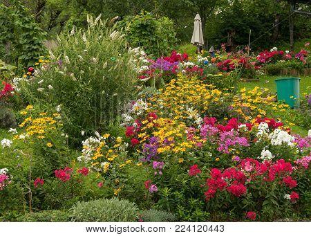 A very colorful garden in the austrian Salzkammergut in summer