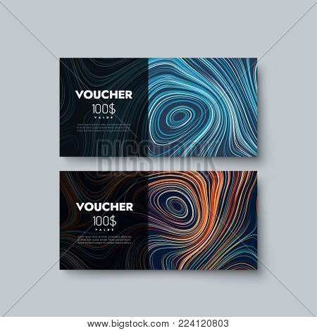 Gift voucher templates. Set of discount certificates. Vector illustration of coupons with 100 dollars value. Premium promotional card with curly multicolored diffusive texture