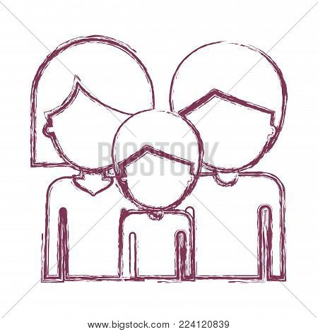 half body faceless people and woman mushroom hairstyle and man and boy with short hair in purple blurred contour vector illustration