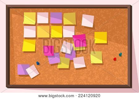 Colorful vector illustration of cork bulletin board with blank sticky notes.