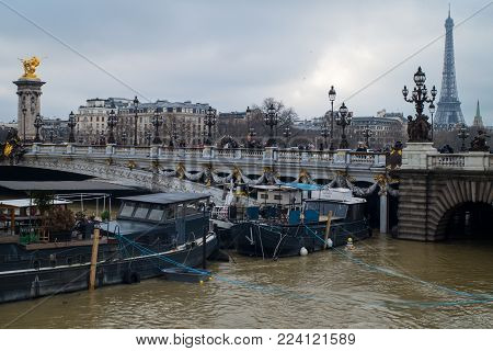 Paris, France - January 27th, 2018: Historical flood of the banks of the river Seine from Paris, France.