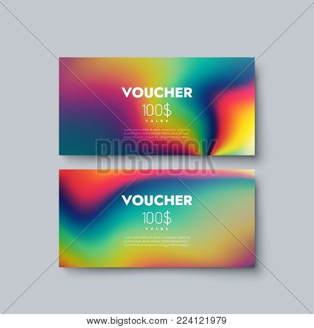 Gift voucher templates. Set of discount certificates. Vector illustration of coupons with 100 dollars value. Premium promotional card with liquid iridescent diffusive texture