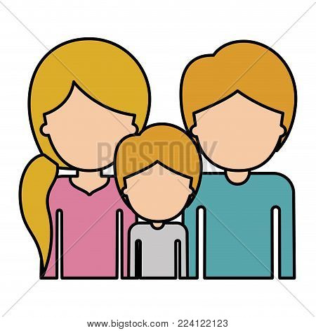 half body faceless people with woman with pigtail hairstyle and man and boy both with short hair in colorful silhouette with thick contour