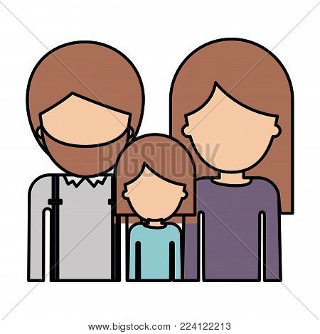 half body faceless people with man with beard and girl and woman with long straight hair in colorful silhouette with thick contour vector illustration