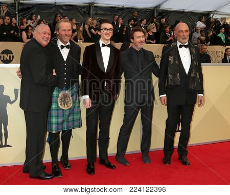 LOS ANGELES - JAN 21:  Conleth Hill, Iain Glen, Isaac Hempstead Wright, Aidan Gillen, James Faulkner at the 24th Screen Actors Guild Awards at Shrine Auditorium on January 21, 2018 in Los Angeles, CA