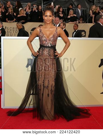 LOS ANGELES - JAN 21:  Halle Berry at the 24th Screen Actors Guild Awards - Press Room at Shrine Auditorium on January 21, 2018 in Los Angeles, CA