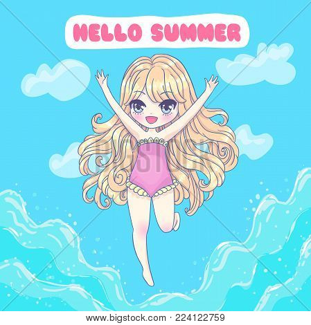 Cute vector illustration. Kawaii Anime girl. Big eyes. Use for postcards, print on clothes or other things. Hello Summer