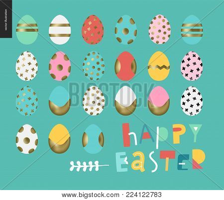 Set of painted eggs - arranged traditional Easter eggs on the blue background
