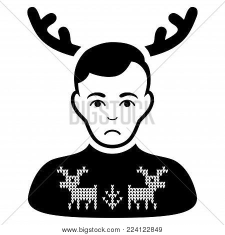 Pitiful Deers Pullover Horned Husband vector pictograph. Style is flat graphic black symbol with dolor expression.