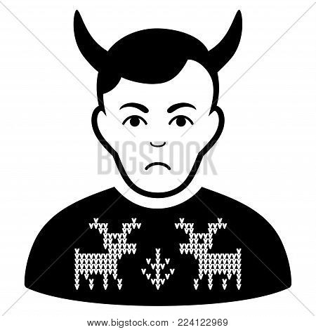 Unhappy Deers Pullover Horned Husband vector pictogram. Style is flat graphic black symbol with pitiful mood.