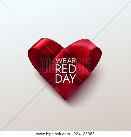 National wear red day. Vector holiday illustration of realistic woven fabric heart. Awareness day of women heart desease prevention. Medical cardiology concept