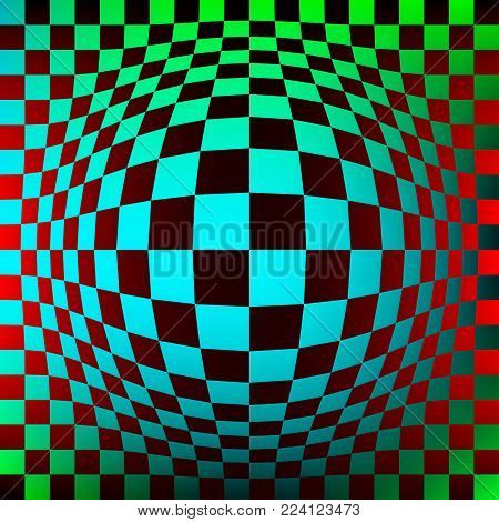 Optical illusion. Distortion of surface. Vector illustration