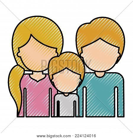 half body faceless people with woman with pigtail hairstyle and man and boy both with short hair in colored crayon silhouette vector illustration