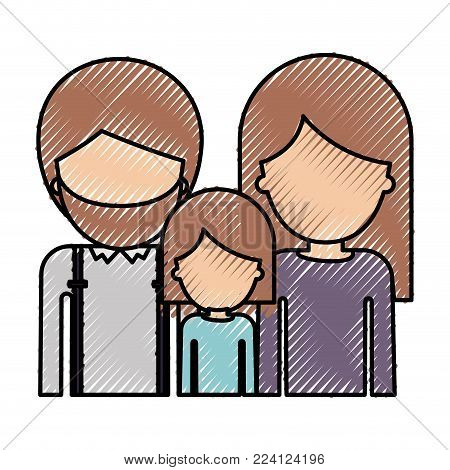 half body faceless people with man with beard and girl and woman with long straight hair in colored crayon silhouette vector illustration