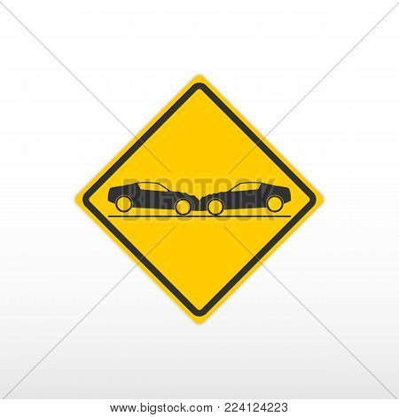 Sign warning car collision. Icon vector illustration.