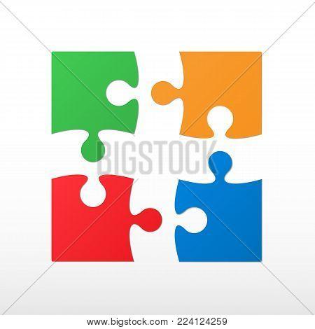 Four color piece jigsaw puzzle. Vector icon.