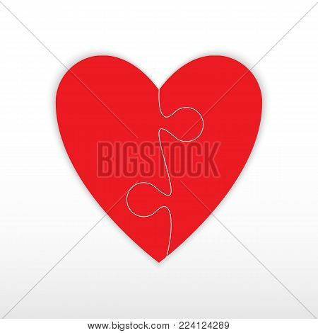 Heart of two pieces of a puzzle. Two red piece puzzle heart. Icon vector illustration.