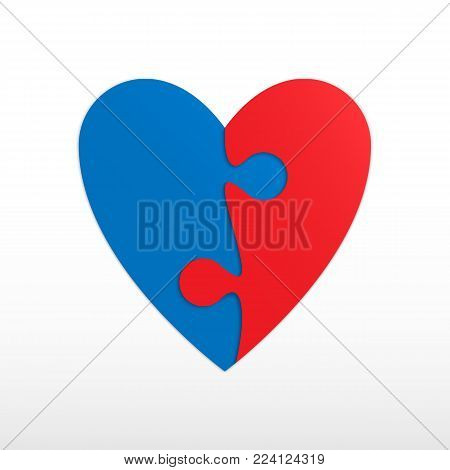 Heart of two pieces of a puzzle. Two red and blue piece puzzle heart. Icon vector illustration.