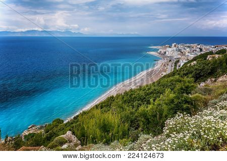View on Rhodes city with sandy beach . Rhodes island , Dodekanes , Greece .