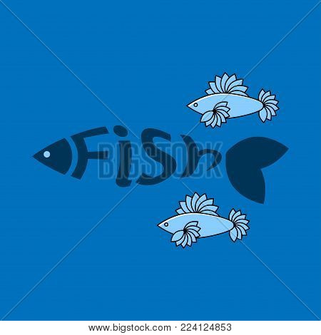 Shoal of the blue fishes. Vector illustration