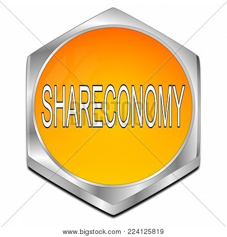 glossy orange Shareconomy Button - 3D illustration