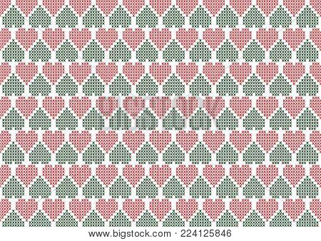 Heart Ornaments - Seamless Knitted Background. Vector Illustration.