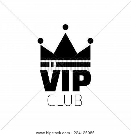VIP club logo in flat style. VIP Club members only banner. Diadem logo