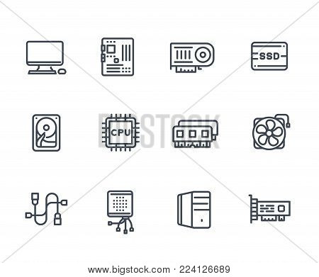 computer components icons on white, processor, motherboard, RAM, video card, HDD, SSD, fan, eps 10 file, easy to edit