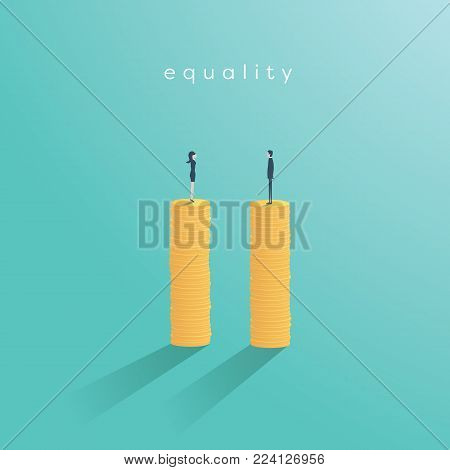 Business gender equality vector concept. Symbol of equal salary, pay, balance in corporate business between man and woman. eps10 vector illustration.