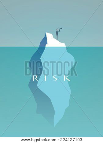 Business risk vector concept with businessman on iceberg in sea. Symbol of challenge, danger, leadership and courage. Eps10 vector illustration.