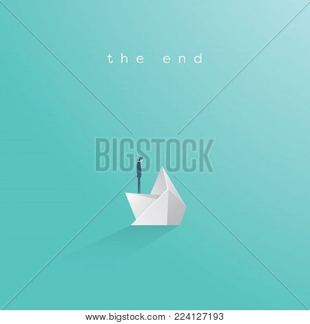 Business bankruptcy vector concept. Businessman on sinking paper boat. Symbol of business failure, debt, market crash, crisis and recession. Eps10 vector illustration.