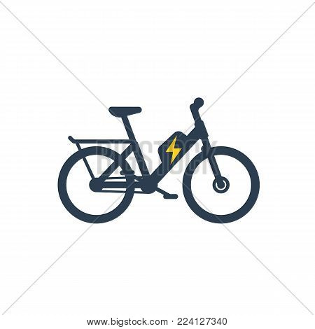 Electric bike, electro bicycle icon, eps 10 file, easy to edit