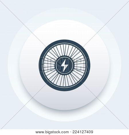 Electric bike wheel icon, eps 10 file, easy to edit