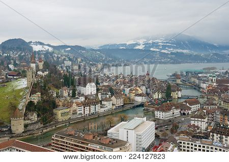 LUCERNE, SWITZERLAND - FEBRUARY 19, 2012: View to the historical part of the Lucerne city, Switzerland.