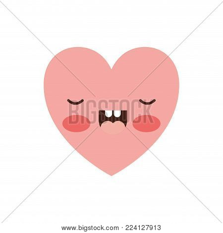 heart kawaii in frightened expression in colorful silhouette vector illustration