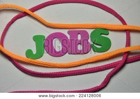 word joibs on an   abstract colored background