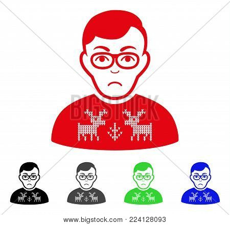 Unhappy Deers Pullover Downer vector pictograph. Vector illustration style is a flat iconic deers pullover downer symbol with grey, black, blue, red, green color versions. Face has dolor emotions.